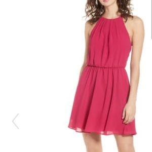 Lush Hot Pink Blouson Chiffon Skater Dress